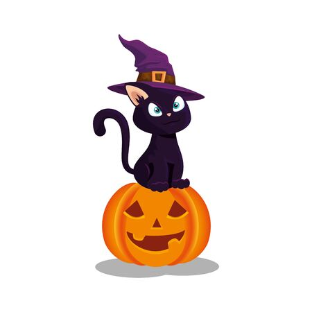 cat with hat witch in pumpkin halloween vector illustration design Çizim