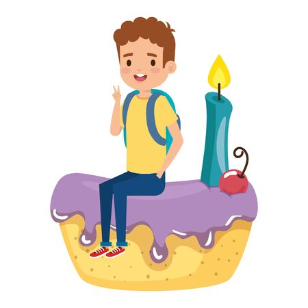 happy little boy seated in cake with candle vector illustration design