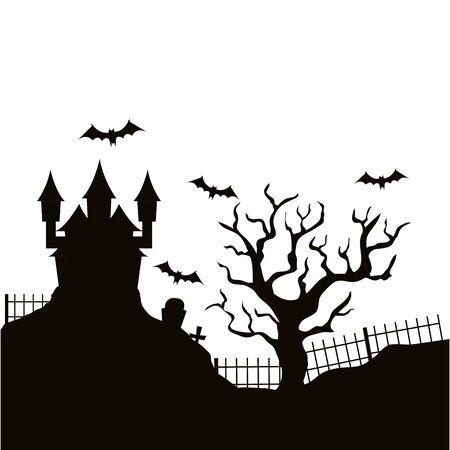 silhouette of haunted castle halloween vector illustration design