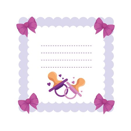 baby shower card with pacifier vector illustration design Stok Fotoğraf - 135997232