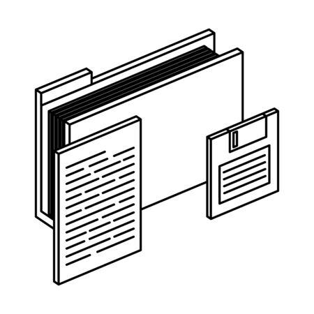 folder with documents files and floppy disk vector illustration design Ilustração