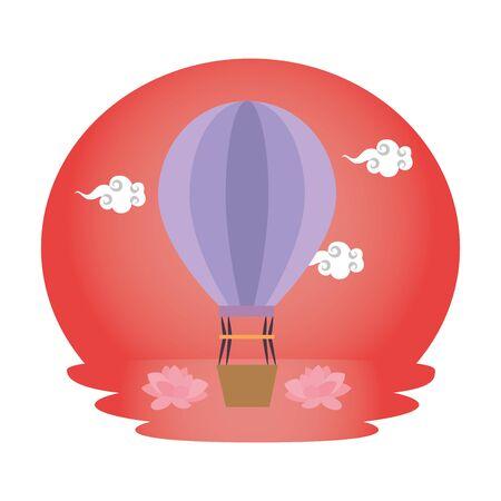balloon air hot flying icon vector illustration design