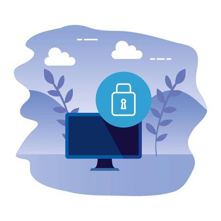 desktop computer device with padlock vector illustration design Çizim