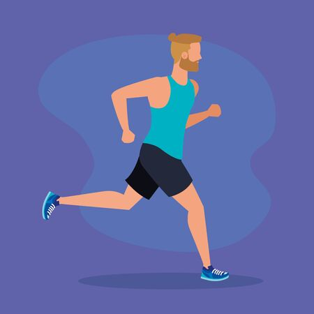 man running practice activity balance over purple background, vector illustration