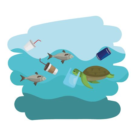 sea fishes animals swiming in sea polluted with garbage vector illustration design