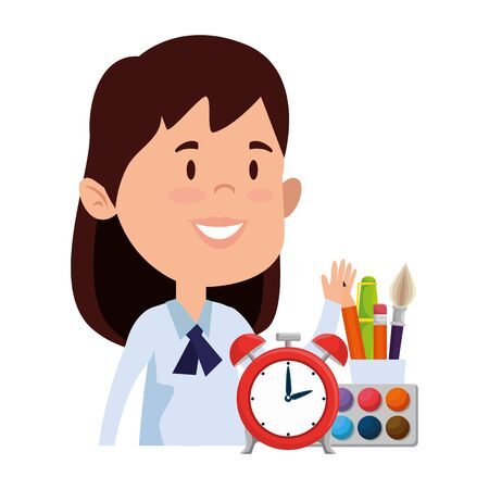 happy student girl with alarm clock and supplies vector illustration design