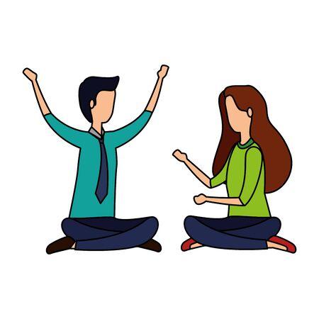 elegant business couple practicing yoga vector illustration design