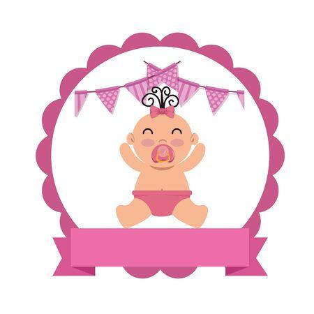 Carte de douche de bébé avec peu de conception d'illustration vectorielle de caractère nouveau-né Vecteurs