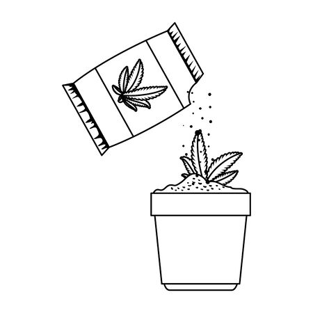 cannabis plant in pot with seeds bag vector illustration design  イラスト・ベクター素材