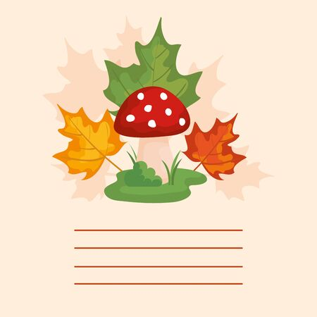 card with leafs and fungus autumn vector illustration design