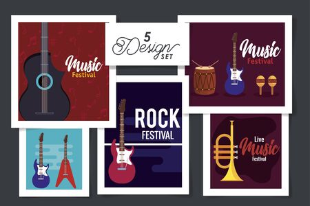 five designs of music festival with instruments vector illustration design