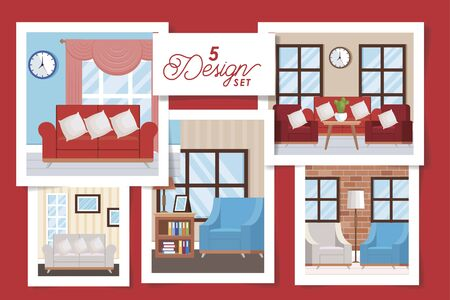 five designs of interiors living room with decoration vector illustration design Archivio Fotografico - 136019499
