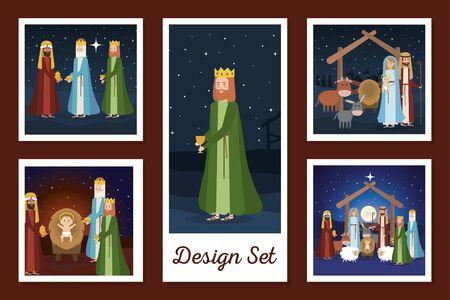 designs set of manger characters vector illustration design
