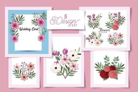 five designs with wedding invitation card and set flowers vector illustration design