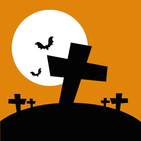 halloween crosses with bats flying and icons vector illustration design