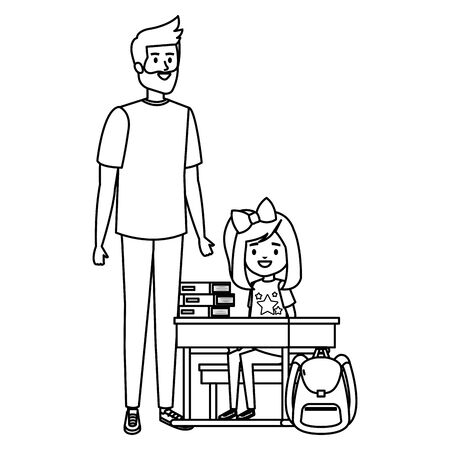 happy student girl in schooldesk with male teacher vector illustration design Archivio Fotografico - 136045683