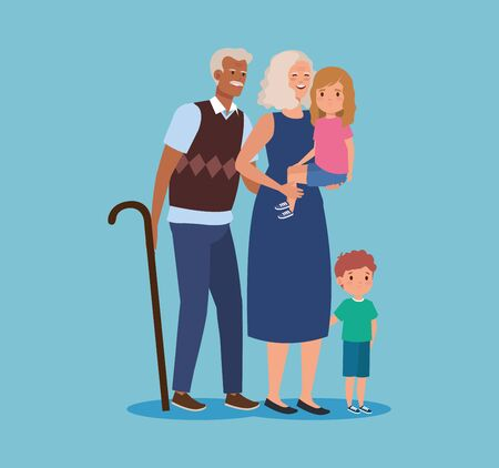 cute grandparent with girl and boy kids over blue background, vector illustration 向量圖像