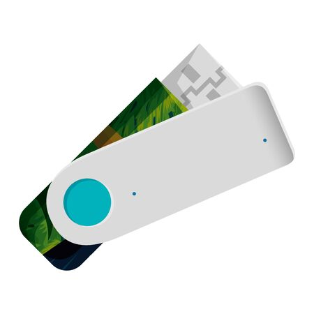 usb memory flash with tropical flowers print vector illustration design