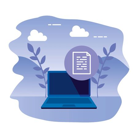 laptop computer with document file vector illustration design 向量圖像