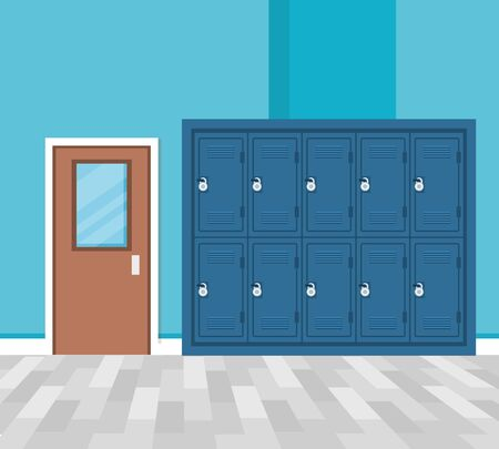 set of lockers in school corridor vector illustration design