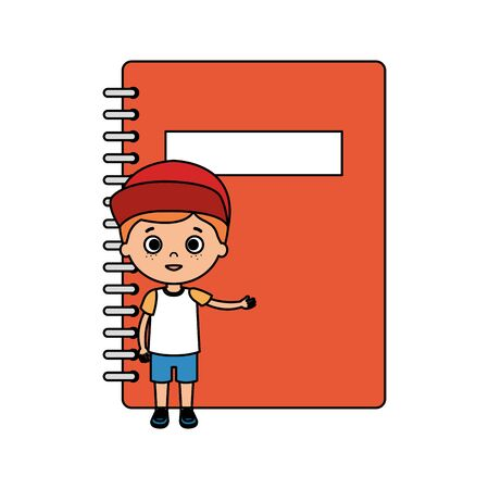 little boy student with notebook character vector illustration design