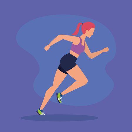 woman running practice activity lifestyle over purple background, vector illustration