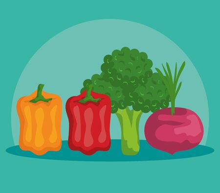fresh peppers with broccoli and onion vegetables to healthy food vector illustration