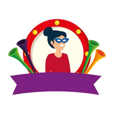 beautiful circus woman with mask and trumpets in emblem vector illustration