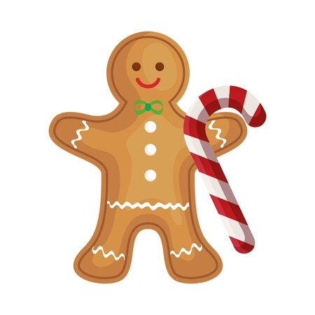 ginger cookie christmas with sweet cane vector illustration design