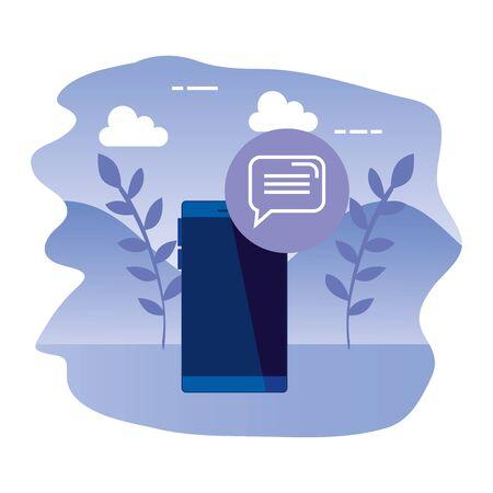 smartphone device with speech bubble vector illustration design Vetores