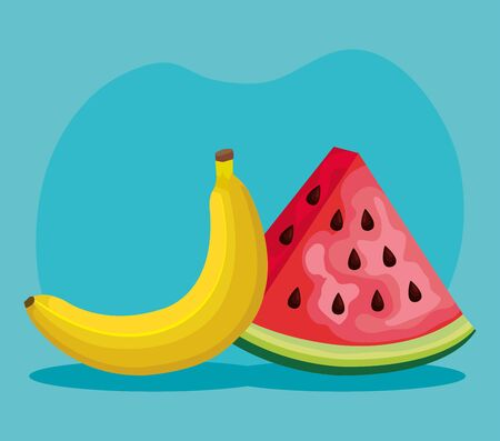 delicious banana and watermelon fruits nutrition over blue background, vector illustration