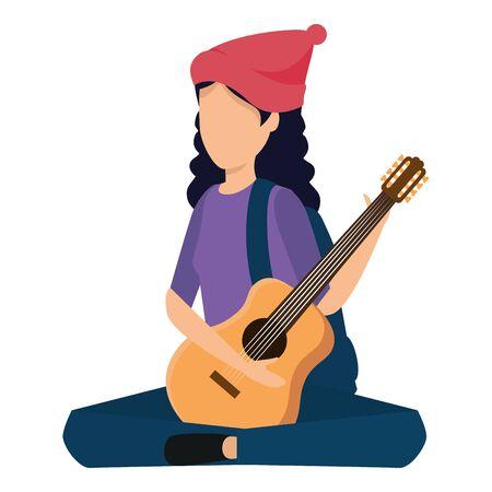 giovane donna che suona la chitarra strumento illustrazione vettoriale design