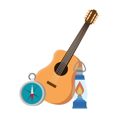 guitar with kerosene lantern and compass guide vector illustration design