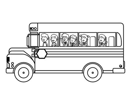 school bus transport with group of kids vector illustration design Banque d'images - 136060409