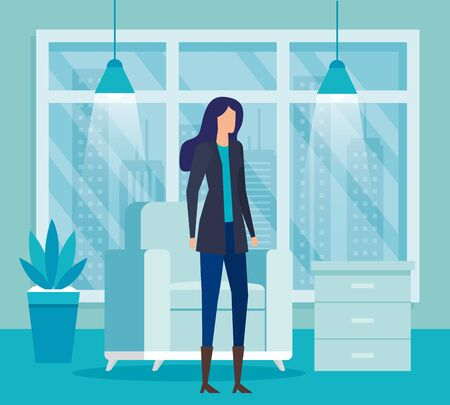 elegant businesswoman worker in livingroom vector illustration design