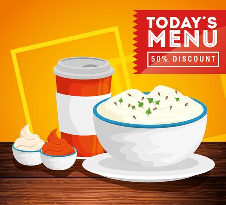 poster of today menu with fifty discount and delicious food vector illustration design