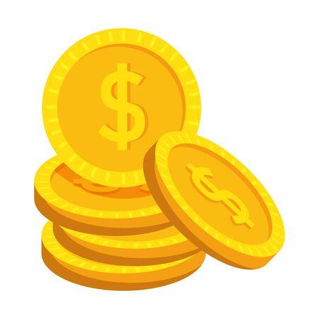 coins cash money dollars icon vector illustration design
