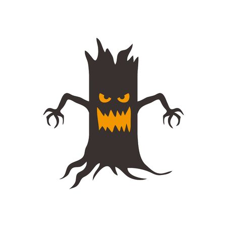 halloween haunted dry tree isolated icon vector illustration design 向量圖像