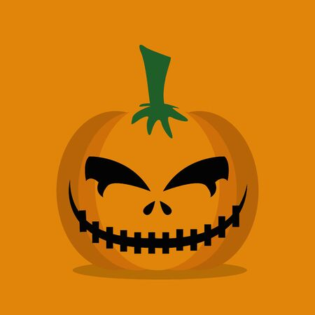 halloween pumpkin with face icon vector illustration design