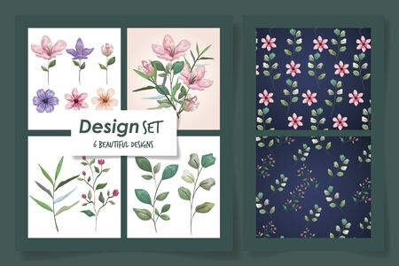 set six designs of patterns with flowers and leafs vector illustration design