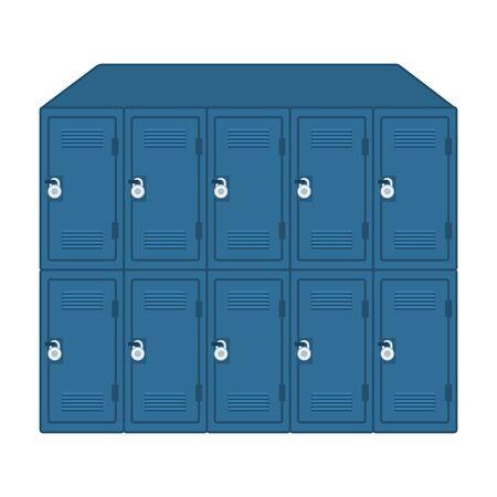Conjunto de taquillas de la escuela con candados, diseño de ilustraciones vectoriales