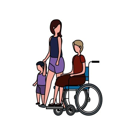 grandmother in wheelchair with daughter and granddaughter vector illustration