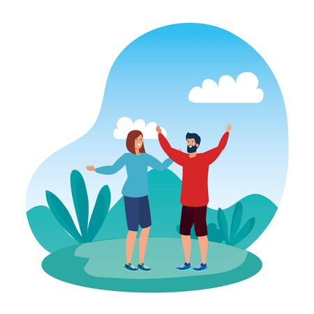 young lovers couple celebrating in the park vector illustration design