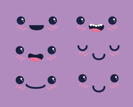 set of face with eyes and mouth expression over purple background, vector illustration
