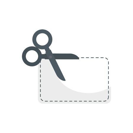 scissor utensil with paper isolated icon vector illustration design