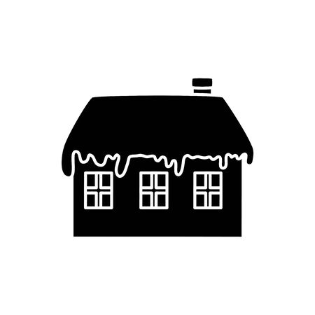 silhouette of house with snow isolated icon vector illustration design