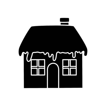silhouette of house with snow isolated icon vector illustration design Standard-Bild - 136083853