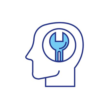 wrench inside head design, Construction work repair reconstruction industry build and project theme Vector illustration Foto de archivo - 136084177