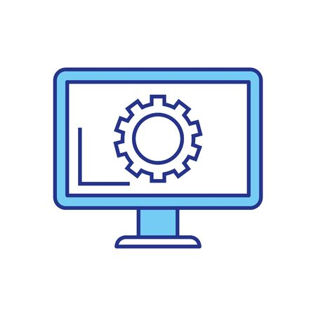 Gear inside computer design, construction work repair machine part technology industry and technical theme Vector illustration