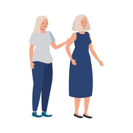 old women elegant avatar character vector illustration design  イラスト・ベクター素材